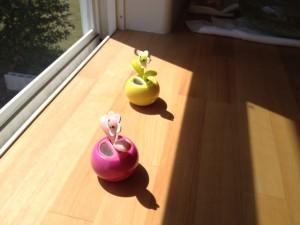お客様の窓辺に太陽光で発電、発電した電気で葉がスイングして我々を歓迎してくれて?おります。